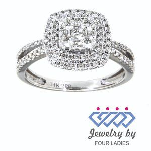 Natural Double Halo Diamond Bridal Ring White Gold